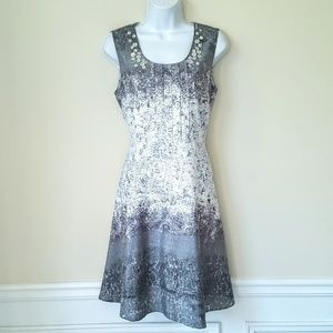 Coldwater Creek Gray White Sleeveless Dress P10